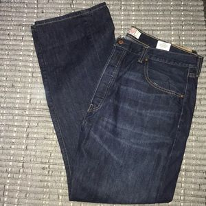 Levi's Straight 501 Button Fly Dark Denim 40 x 32
